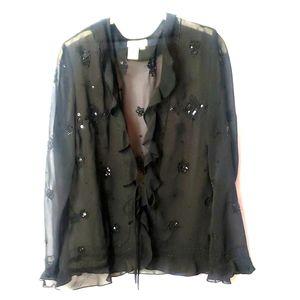 SZ10 ruffled sheer black embelished blouse c34
